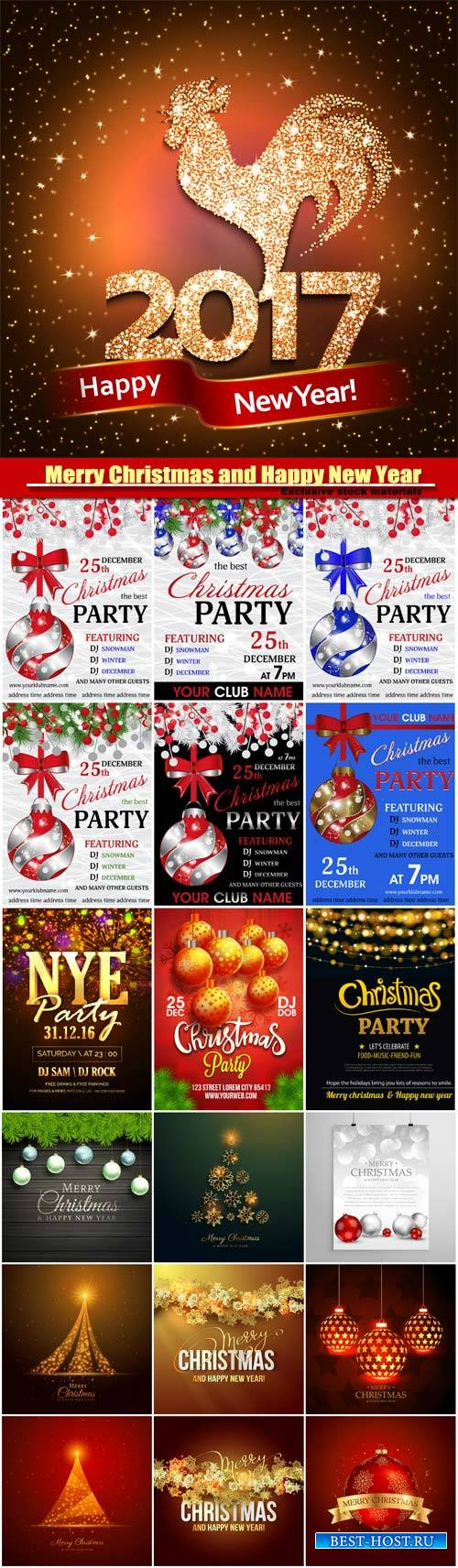 Christmas party vector invitation, Merry Christmas and Happy New Year