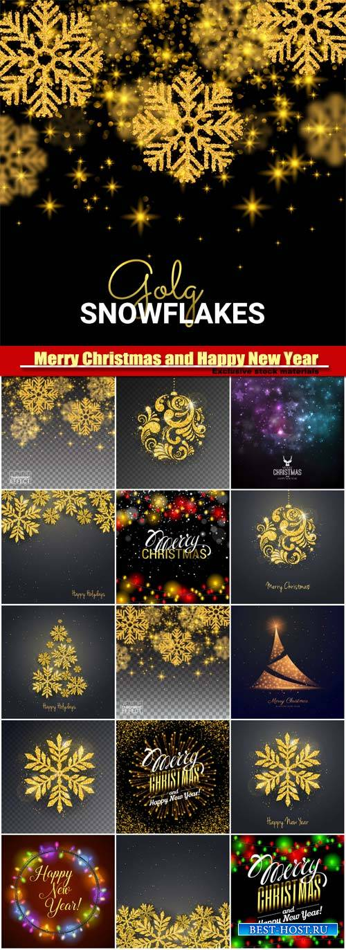 Merry Christmas and Happy New Year vector, gold snowflakes, glitter for ban ...