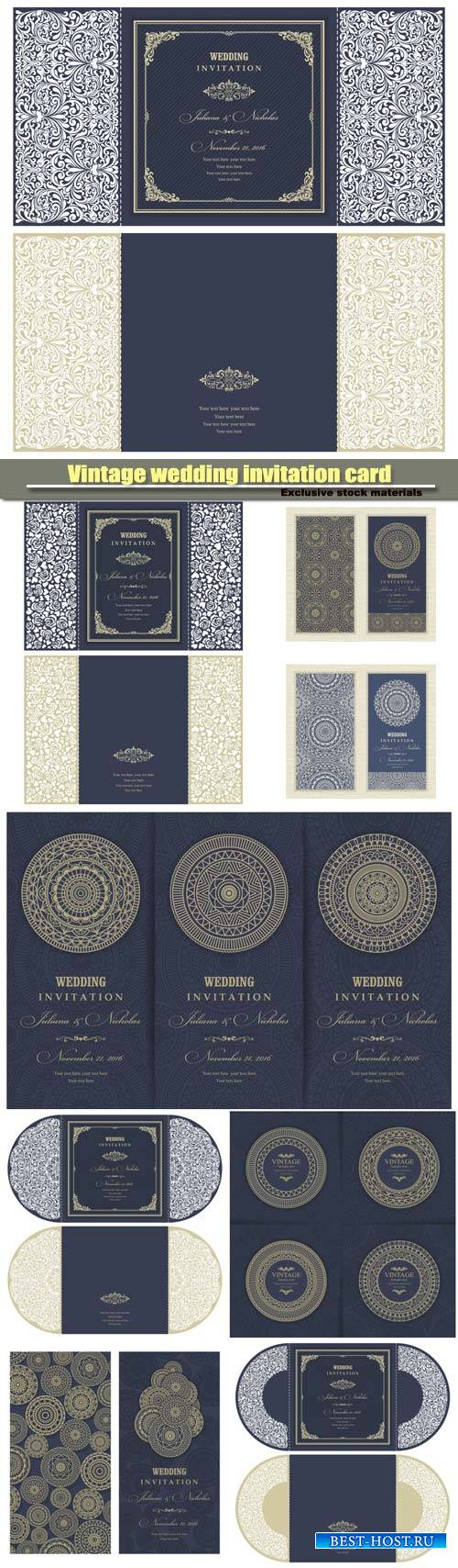 Vintage wedding invitation card, vector with patterns