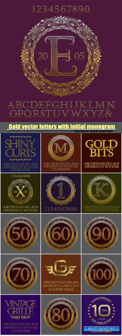 Gold vector letters with initial monogram, elegant logo design, english vin ...