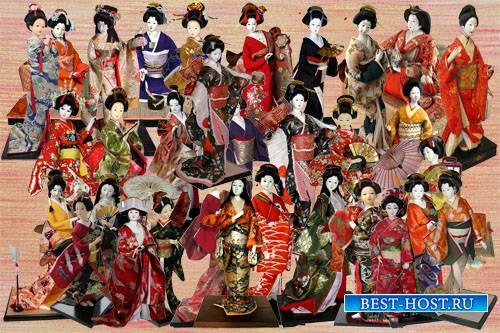 Клипарт Коллекция японских кукол