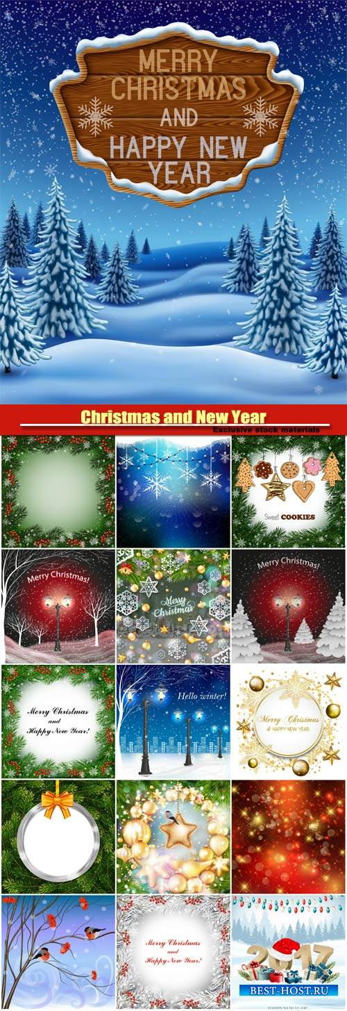 Christmas and New Year vector background, golden baubles, bullfinches sitting on branch of