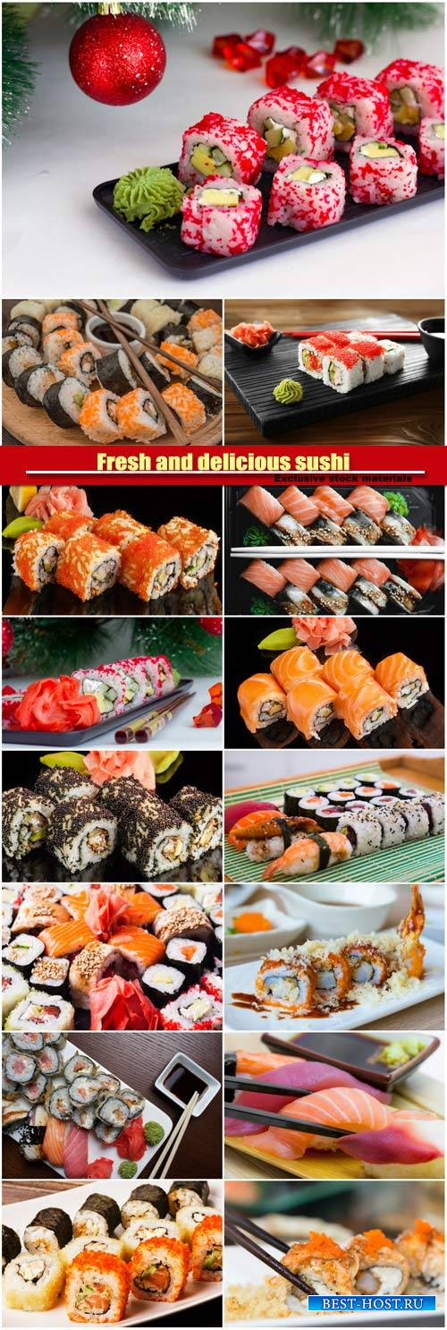 Fresh and delicious sushi, a variety of rolls, oriental cuisine