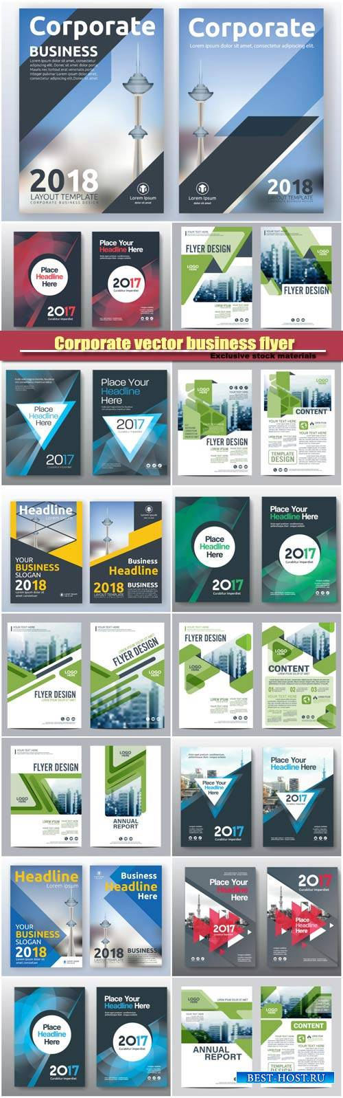 Corporate vector business flyer layout templates design, brochure, book cov ...
