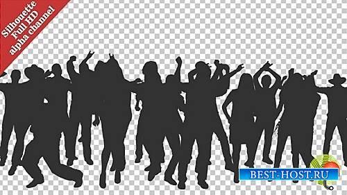 Толпа танцующих людей Силуэты - Видеоматериал (VideoHive)