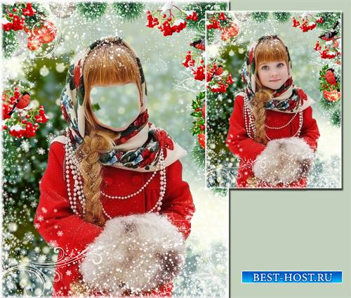Шаблон  -  Красавица и снегири.