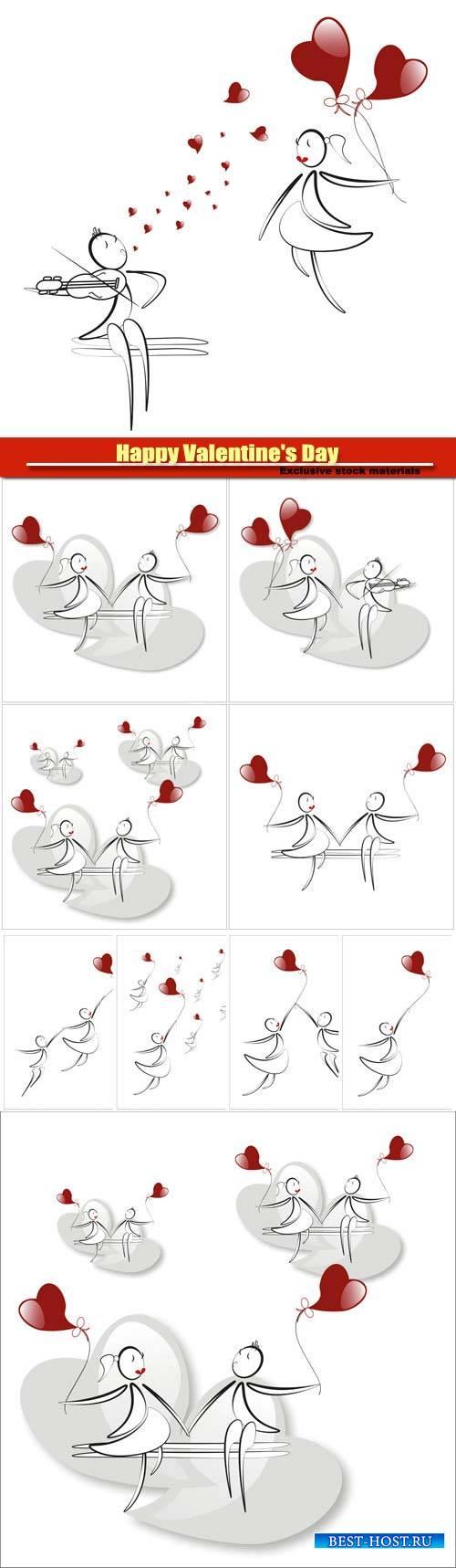 Happy Valentine's Day vector, hearts, romance, love #14
