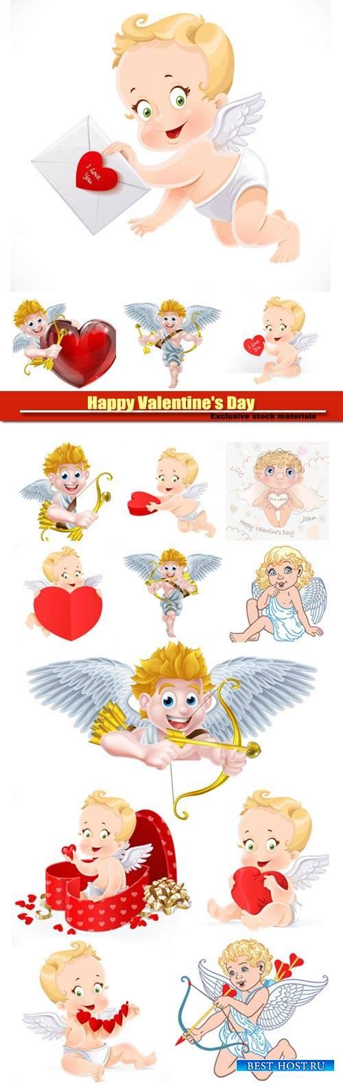 Happy Valentine's Day vector, hearts, romance, love, angels #7