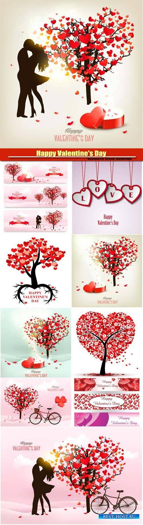 Happy Valentine's Day vector, hearts, romance, love #13