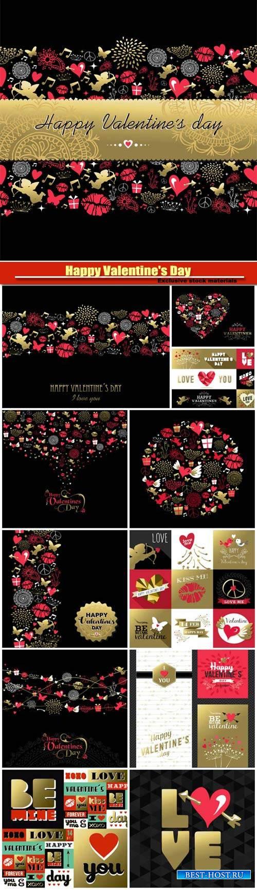 Happy Valentine's Day vector, hearts, romance, love