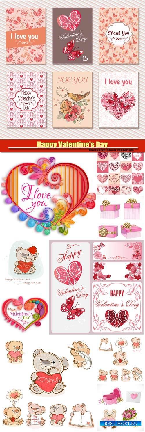 Happy Valentine's Day vector, hearts, romance, love #8