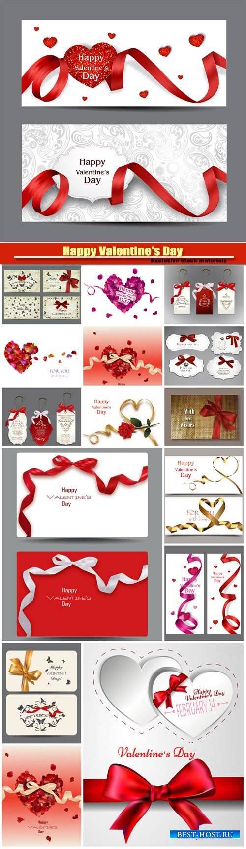 Happy Valentine's Day vector, hearts, romance, love #3