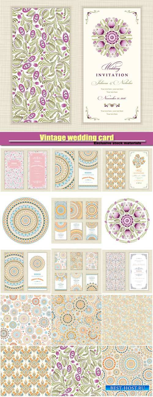 Vintage wedding card, vector backgrounds with patterns