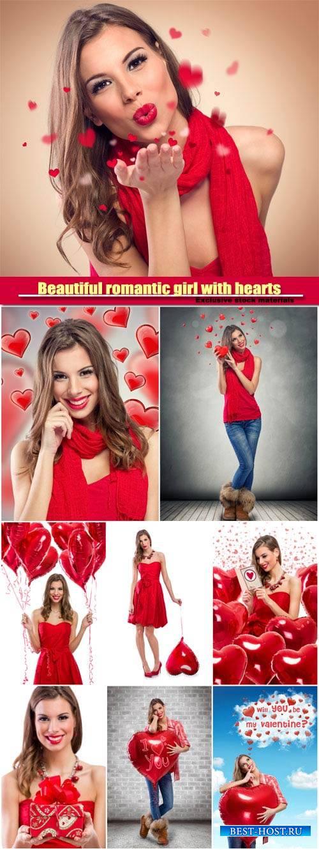 Beautiful romantic girl with hearts