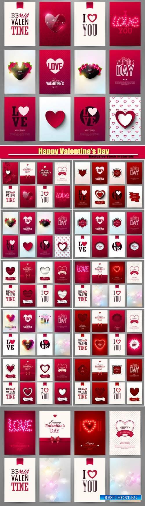 Happy Valentine's Day vector, hearts, romance, love #25