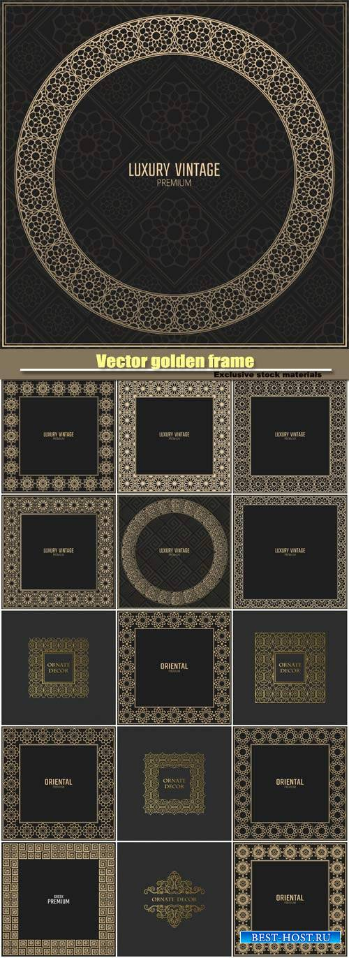 Vector golden, design elements, labels, vintage card for design