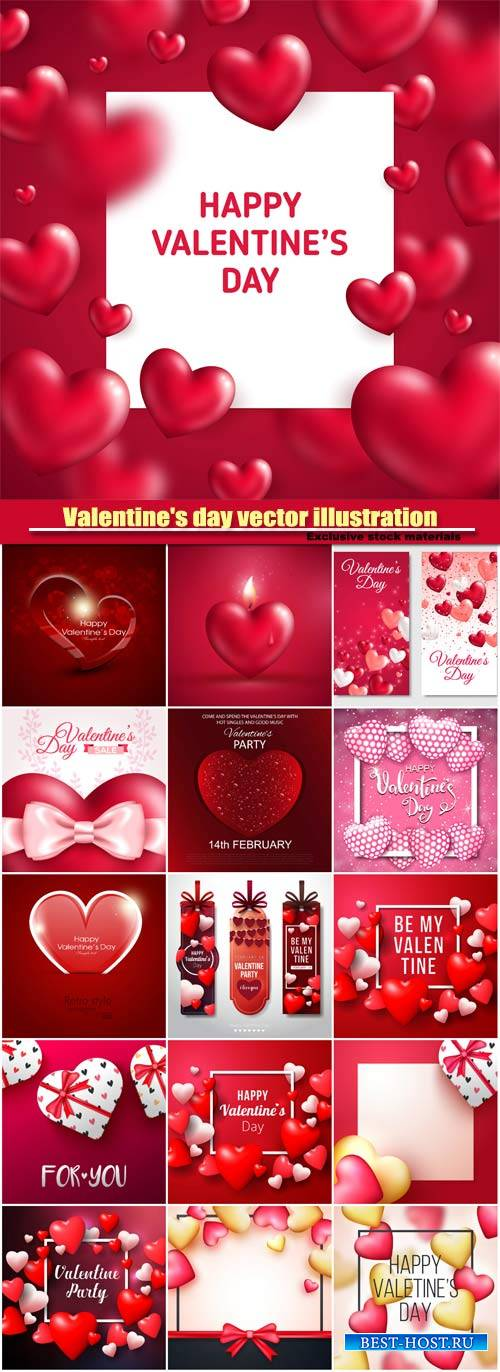 Valentine's day vector illustration, glossy red hearts with square