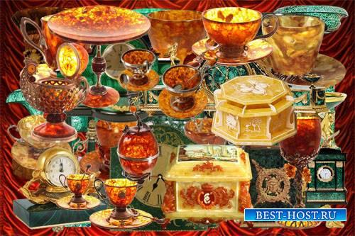 Клипарт Коллекция объектов декора из малахита и янтаря