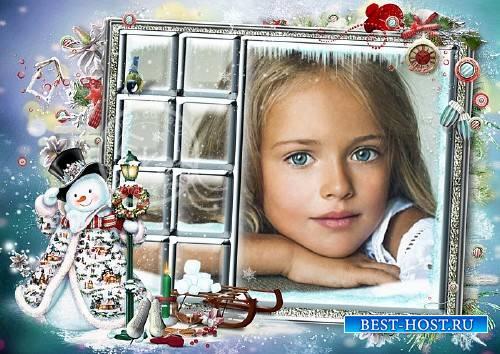 Детская рамочка для фото - Зима из окна