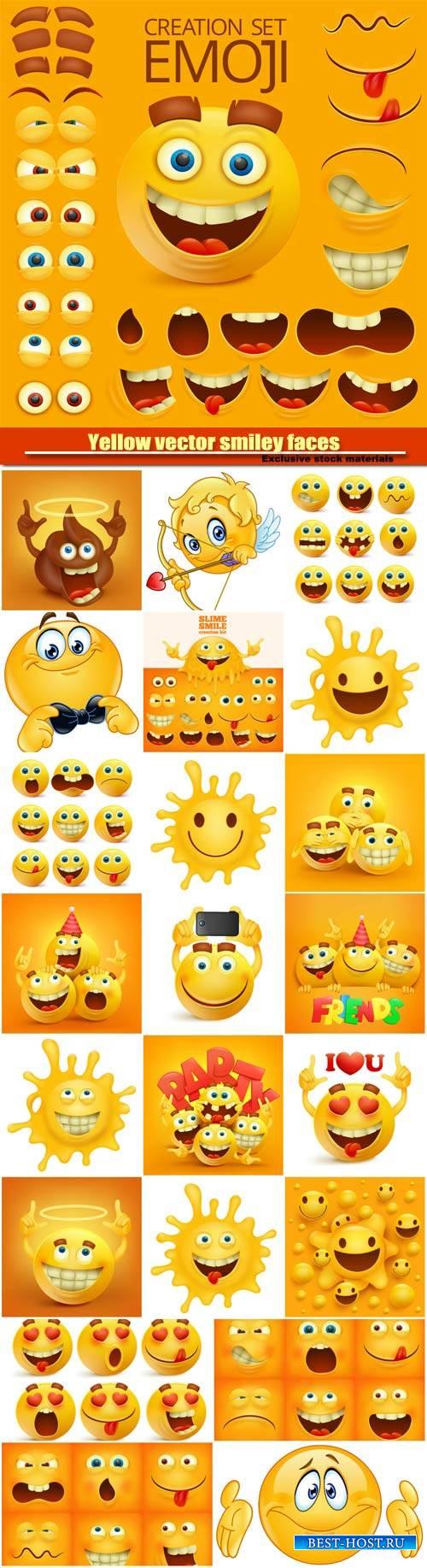Yellow vector smiley faces