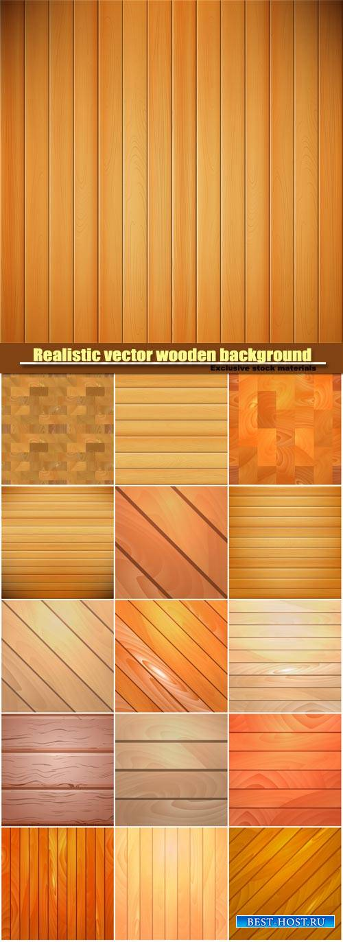 Realistic vector wooden background, template for design