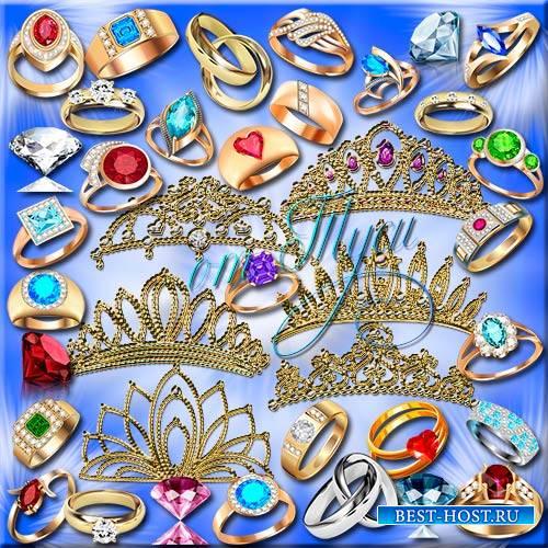 Клипарт - Сияние драгоценных камней диадем и колец / Tiaras and rings