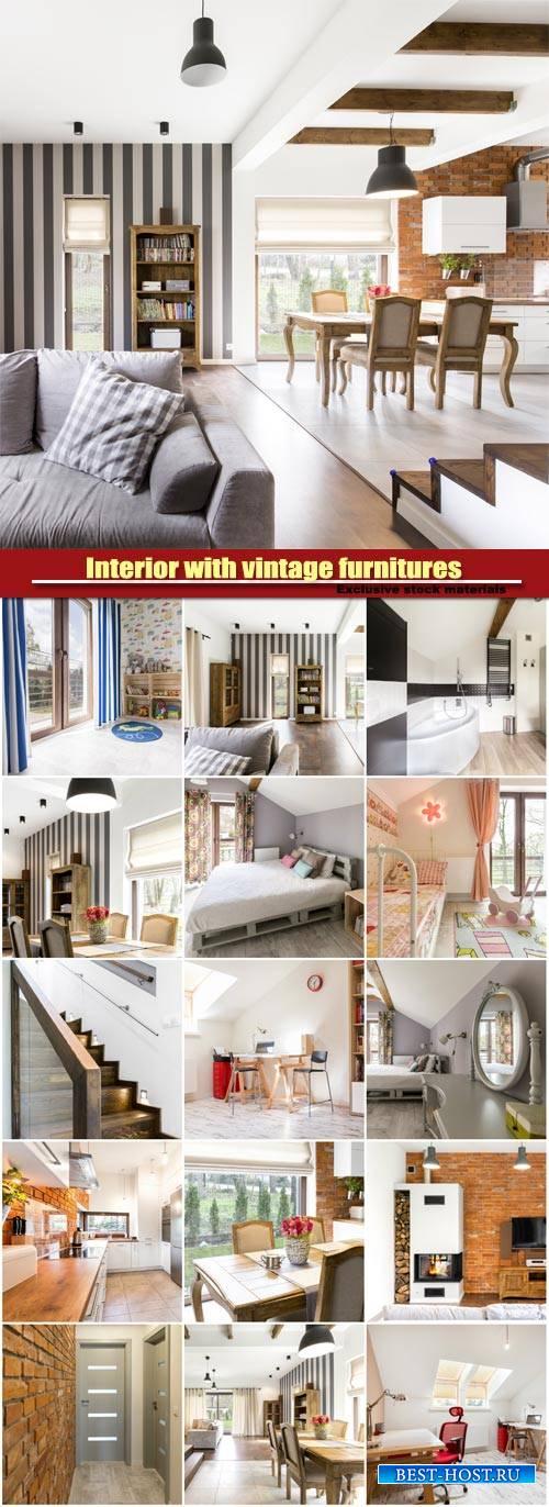 Interior with vintage furnitures, bedroom, kitchen, living room