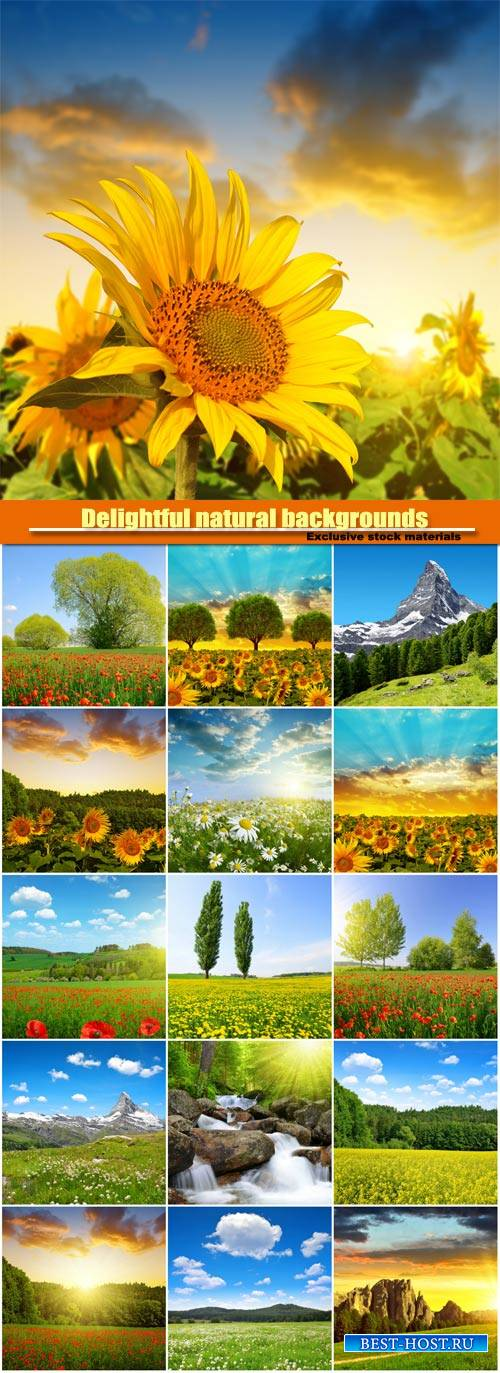 Delightful natural backgrounds, fields of flowers, meadows, mountains, wate ...