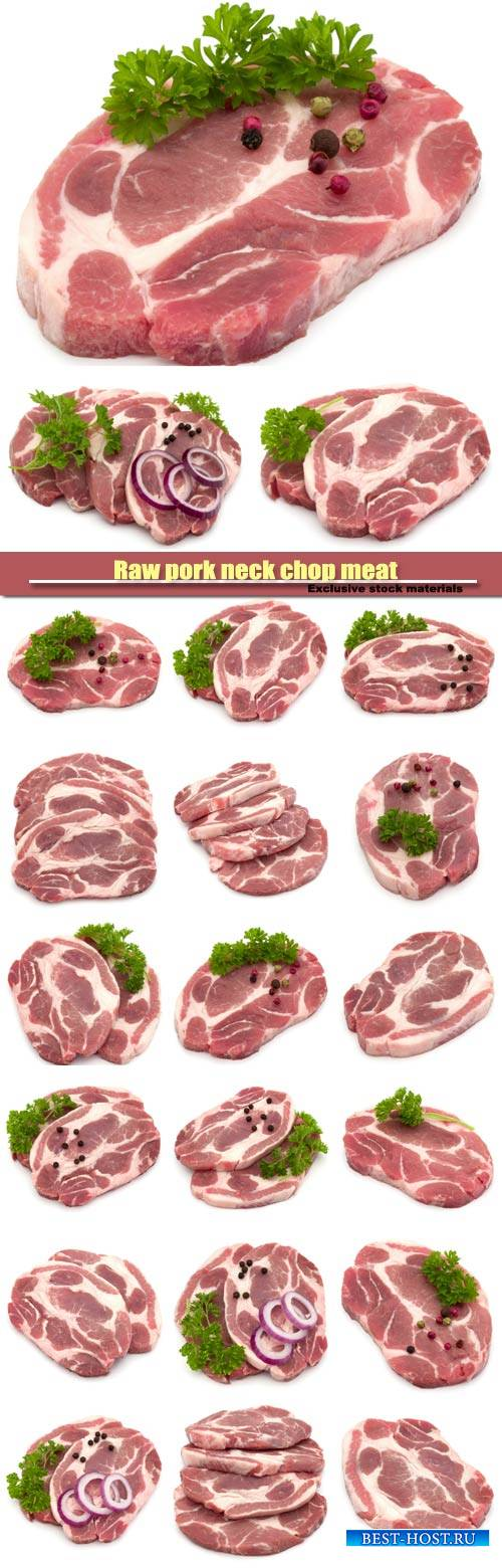 Raw pork neck chop meat with parsley herb leaves, spices and onion slices g ...