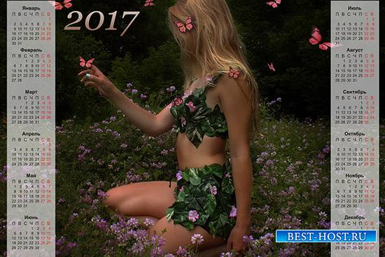 Настенный календарь на 2017 год - Лесная нимфа