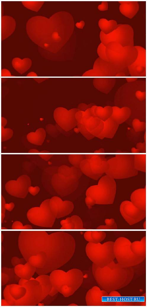 Video footage Red Valentines video background with growing red hearts HD