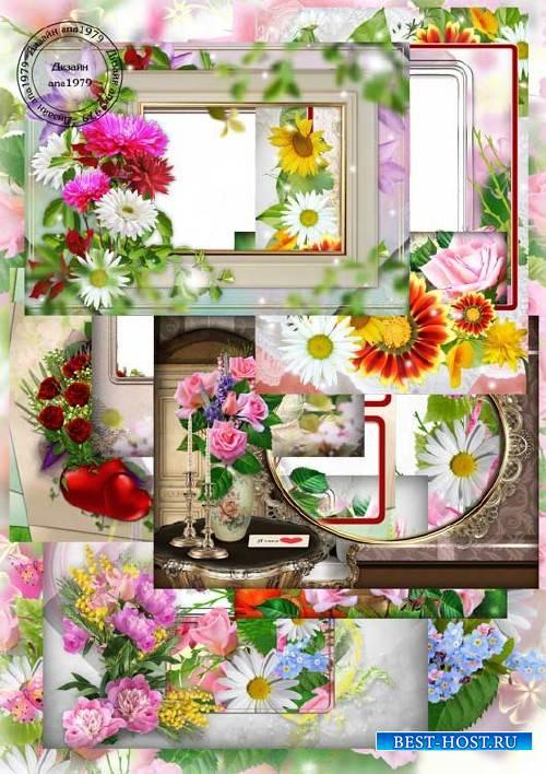 Набор рамок для фотошопа – Цветочный фейерверк