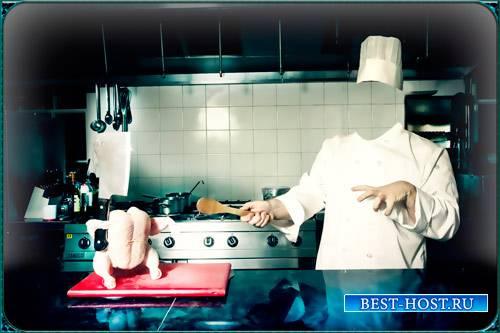 Фотошаблон для фотомонтажа фото - Курица с ножом