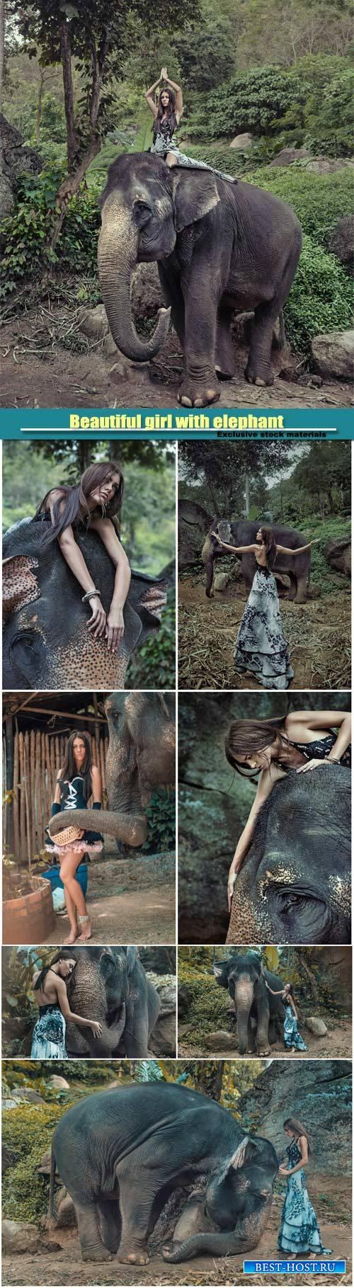 Beautiful girl with elephant