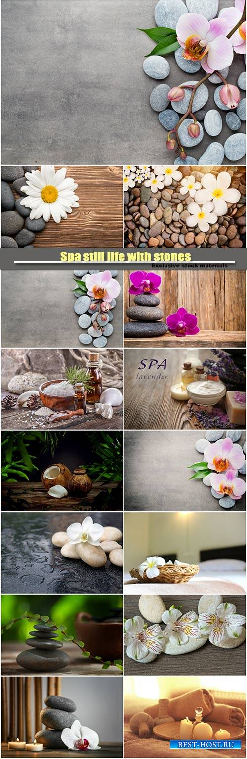 Spa still life with stones, candles and orchid flower