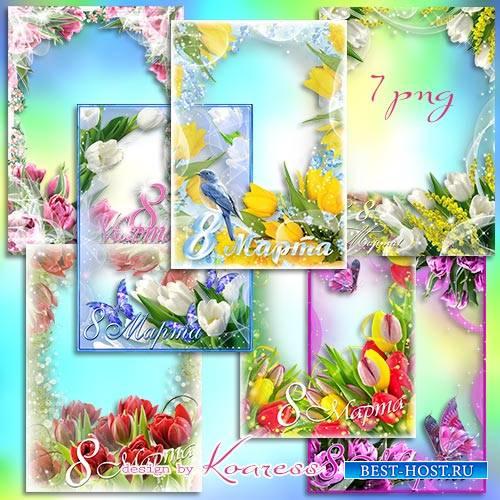 Праздничные фоторамки к 8 Марта - Разноцветные тюльпаны к празднику весенне ...