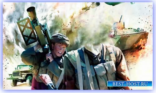Многослойный шаблон для фотошопа - Афганский воин