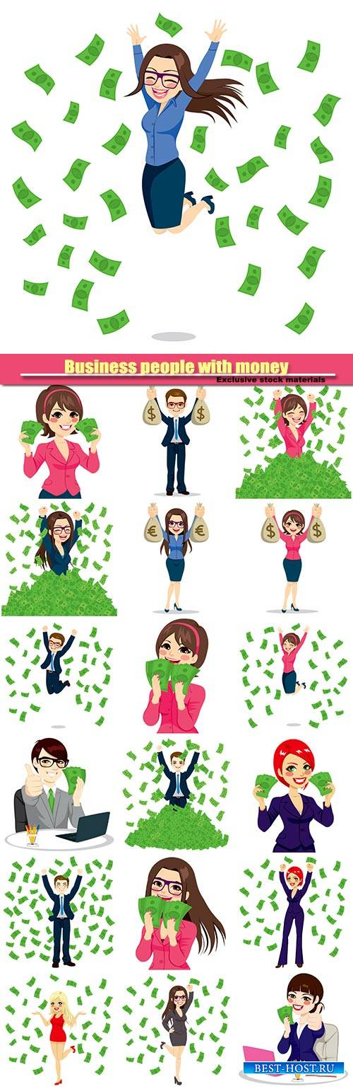 Vector Business people with money