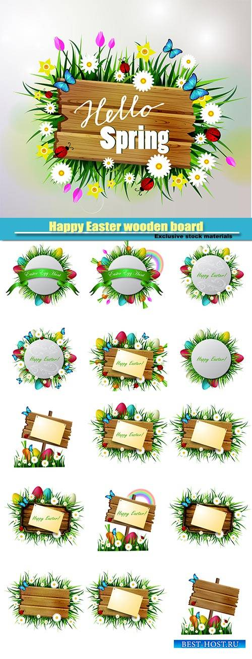 Happy Easter wooden board, flowers blue butterflyes, easter eggs, spring wo ...