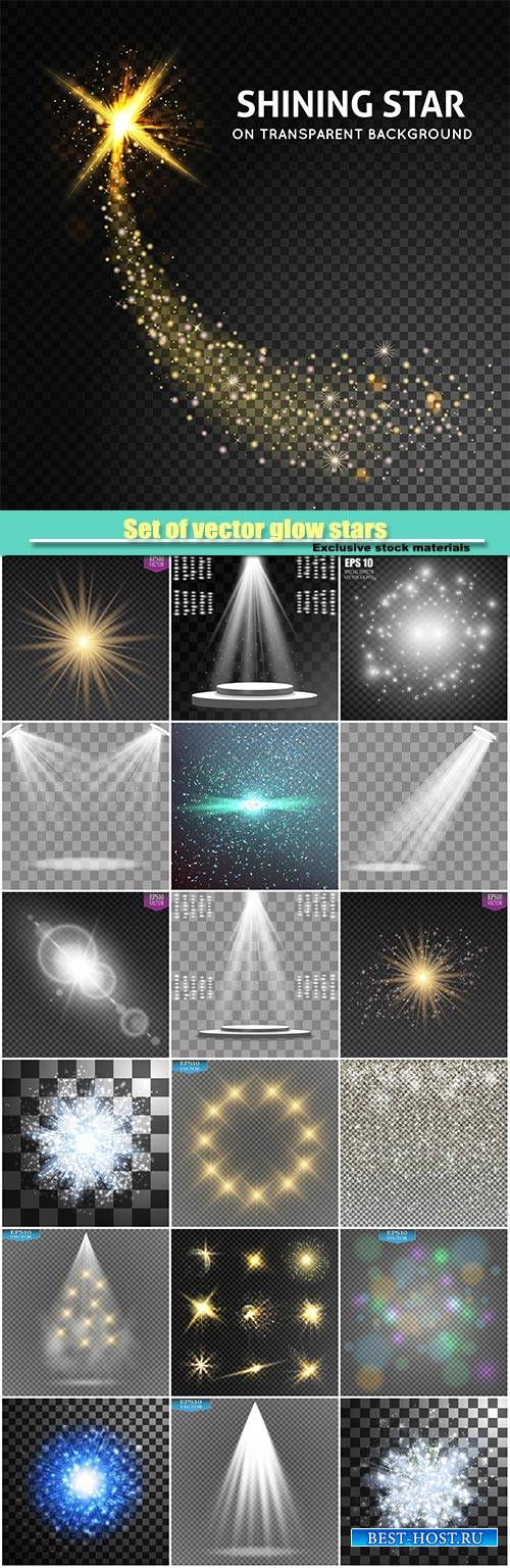 Set of vector glow stars and light effect