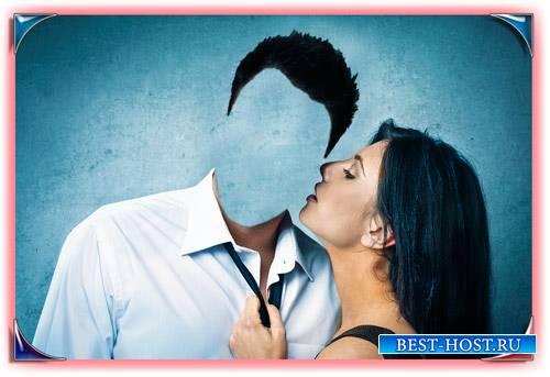 Фотошаблон для фотошопа - Поцелуй девушки