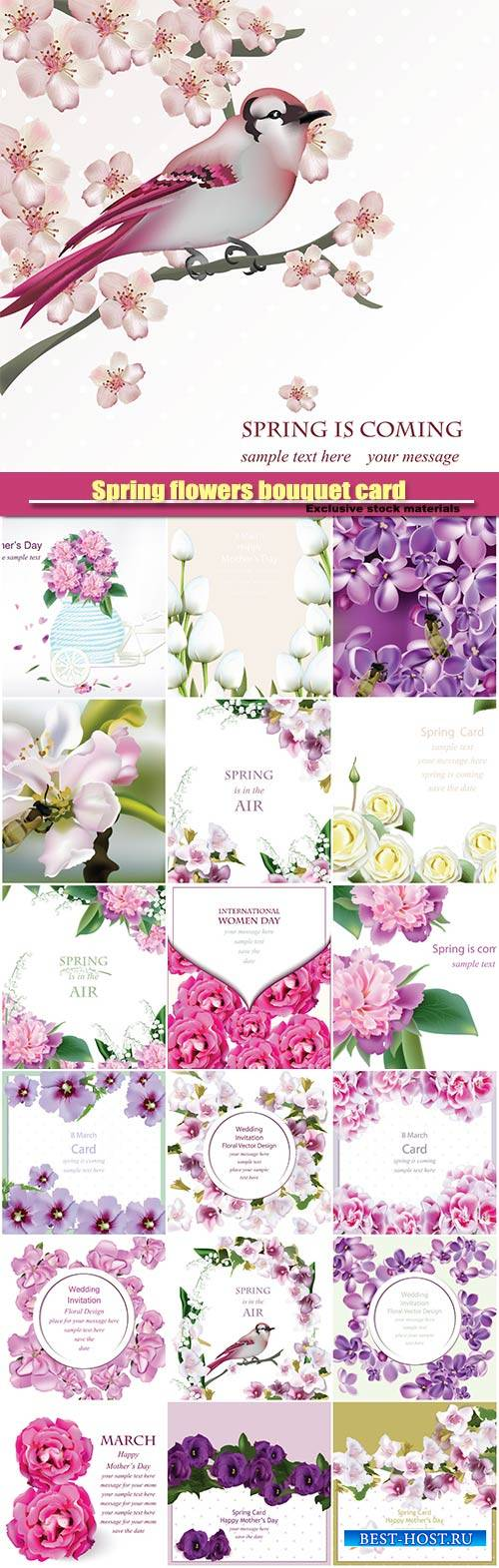 Spring flowers bouquet card background, weddings, birthday, anniversaryv ec ...
