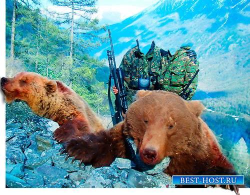 Шаблон фотошоп для фото - Два выстрела - два медведя