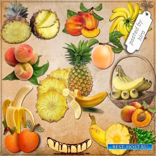 Клипарт - Персики, бананы, ананасы