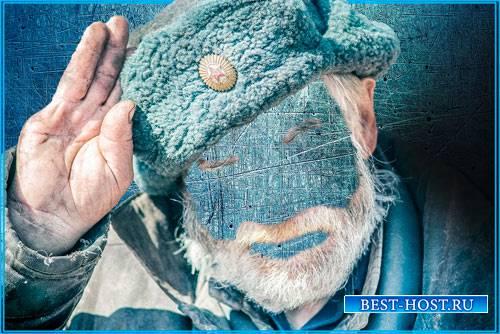Шаблон фотошоп мужской - Дед в армейской шапке