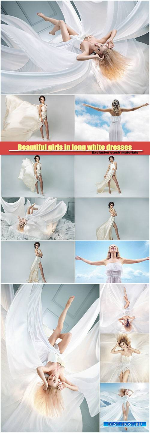 Beautiful girls in long white dresses