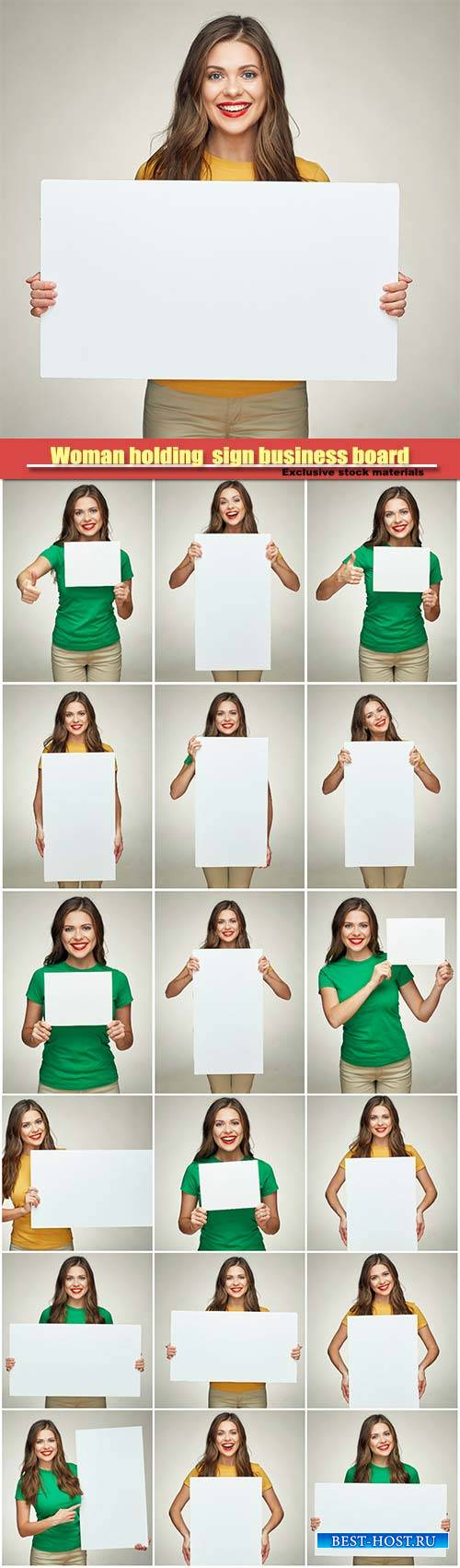 Young woman holding  sign business board