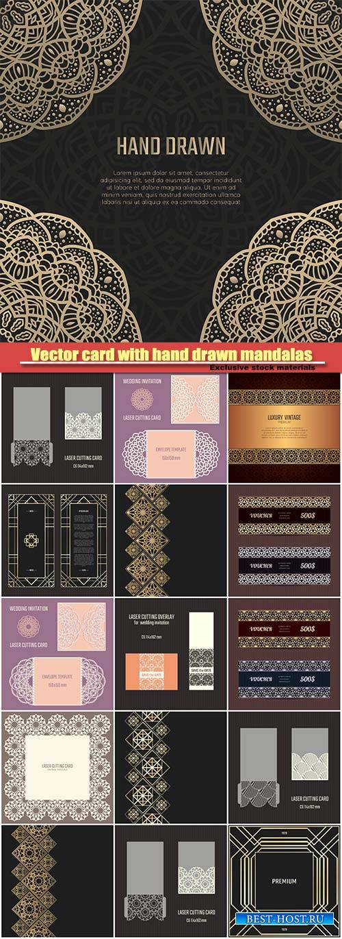 Vector card with hand drawn mandalas, invitation template