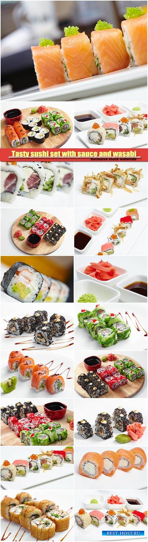 Tasty sushi set with sauce and wasabi
