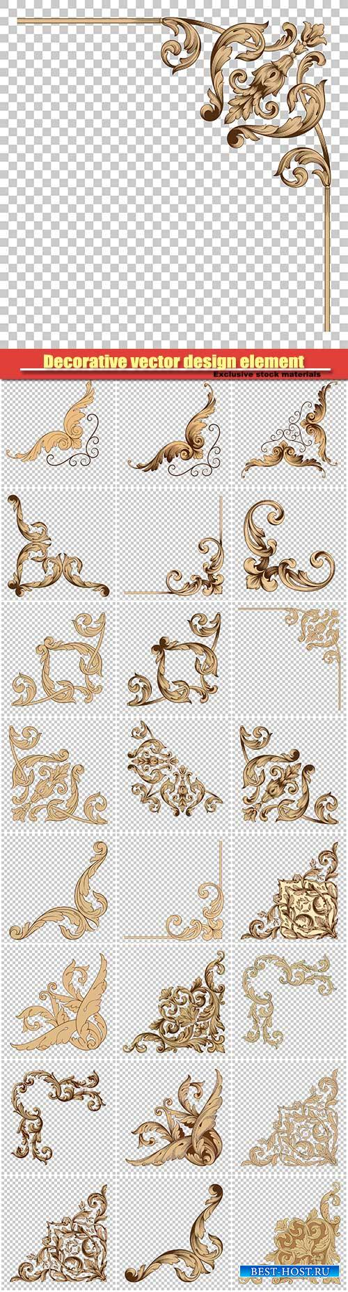 Decorative vector design element, vintage baroque ornament